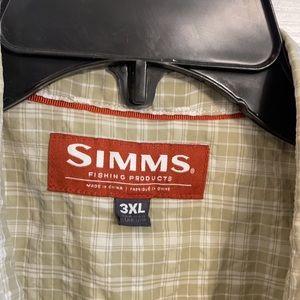 Simms Fishing Products Seasucker Olive Plaid Men's